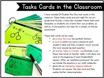 Doubles Plus 1, Number Bond Task Cards