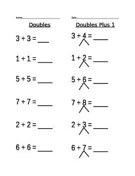 Doubles Plus 1 Worksheet