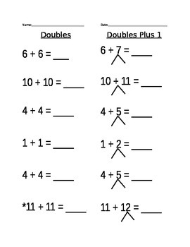 Doubles Plus 1 Worksheet (3)