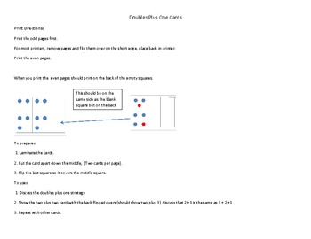 Doubles Plus One Addition Strategy Cards