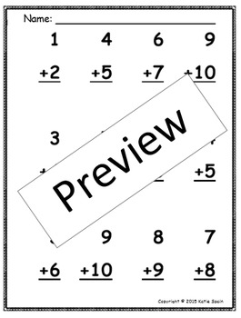 Doubles Plus One Addition Worksheet