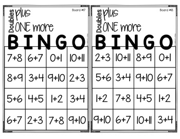 Doubles Plus One BINGO