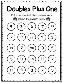 Doubles Plus One Bingo by Time Saver Thomas | Teachers Pay Teachers