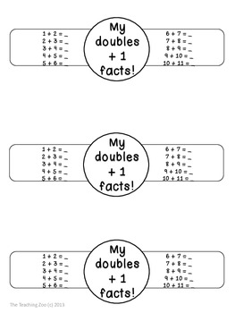 Doubles Plus One Facts Math Fun Learning Bracelets