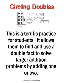 Circling Doubles Plus One, Plus Two, Dot Addition Practice