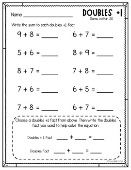 Doubles Plus One Worksheets Within 20 Math Fact Fluency
