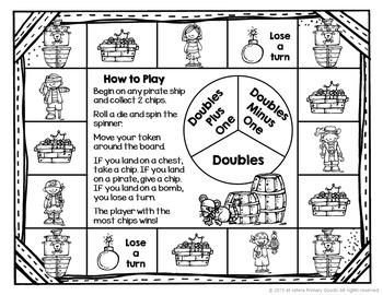 Doubles Plus and Minus One Pirate Board Game