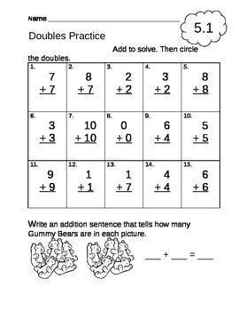 Doubles Practice Worksheet