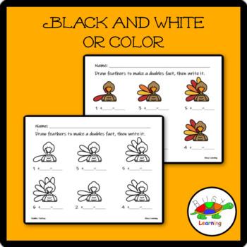 Doubles Turkeys Math Fact Thanksgiving Worksheet Addends of 1-6