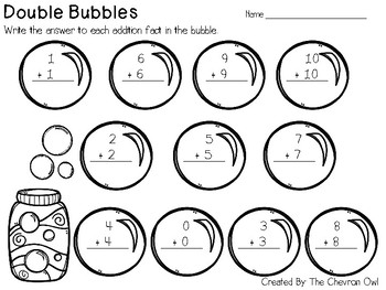 Doubles and Doubles +1 Addition Bubbles