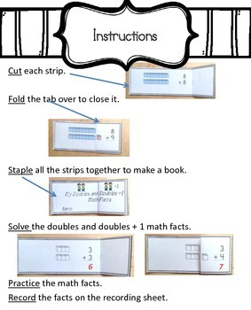 Doubles Plus 1 and Doubles Facts Flip Strip Book