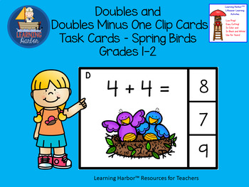 Doubles and Doubles Minus One Task Cards Spring Birds