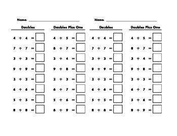Doubles and Doubles Plus One Addition Review Worksheet