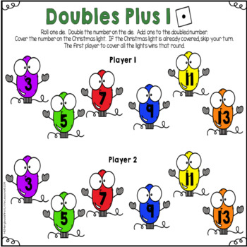 Doubles and Doubles Plus Or Minus One Christmas Themed Math  Game