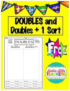 Doubles and Doubles plus one Sort- FREEBIE OF THE WEEK!