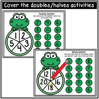 Doubles and Halves Facts Activity Spinners