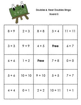 Doubles and Near Doubles (+1) Bingo