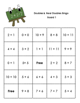 Doubles and Near Doubles (+1) Bingo