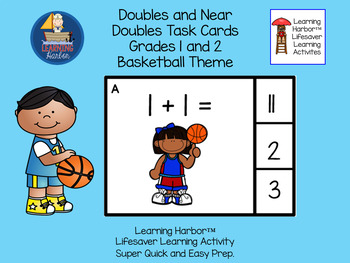Doubles and Near Doubles Basketball Kids  Task Cards  Grades 1 - 2