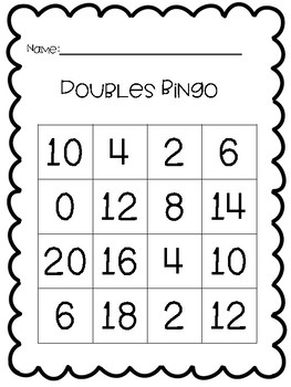 Doubles and Near Doubles Bingo