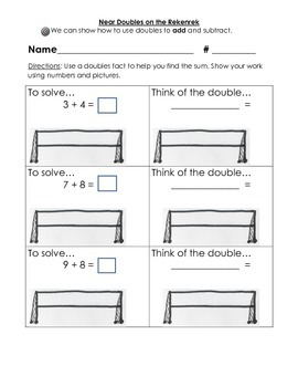 Doubles and Near Doubles- Charts, Worksheets, and a Quiz