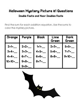 Doubles and Near Doubles Facts Halloween Mystery Picture #1