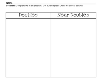 Doubles and Near Doubles Sort