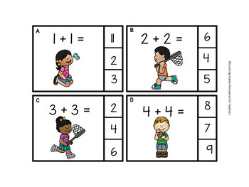 Doubles and Near Doubles Spring Kids and Butterflies Task Cards Grades 1 - 2