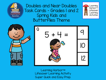 Doubles and Near Doubles Spring Kids and Butterflies Task