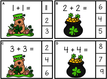 Doubles and Near Doubles  St. Patrick's Day  Task Cards  Grades 1 and 2