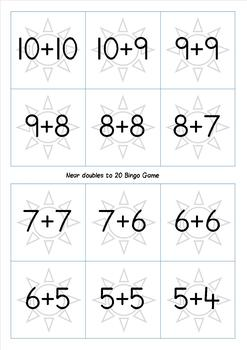 Doubles and Near Doubles to 20 Bingo Game