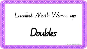 Doubles fact Mental Math Warm Up ACARA C2C Common Core