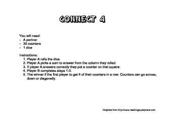 Doubles - Connect 4 math partner game