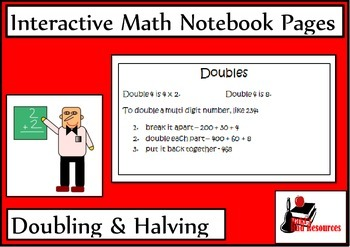 Doubling & Halving Numbers for Interactive Math Notebooks