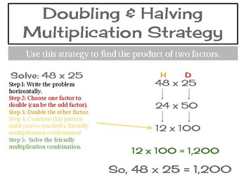 Doubling \u0026 Halving Strategy Poster By Mrs Kuznickis Teacher Store Tripling And Thirding Multiplication Doubling \u0026 Halving Strategy Poster