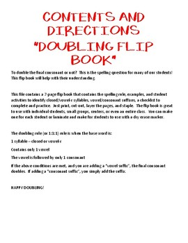 Doubling Rule Flip Book - BW