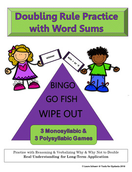 Doubling Rule Suffixing with Word Sums Bingo, Go Fish, & Wipe Out Games