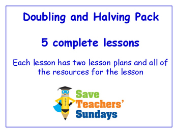 Doubling and Halving Lessons Bundle / Pack (5 Lessons for 2nd to 4th grade)