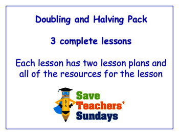 Doubling and Halving Lessons Bundle / Pack (3 Lessons for 1st to 2nd grade)