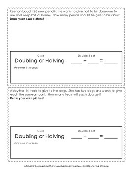 Doubling and Halving Story Problems - Drawing