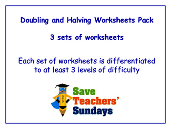 Doubling and Halving Worksheets Bundle / Pack (3 sets for 1st to 2nd grade)