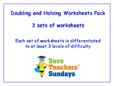 Doubling and Halving Worksheets Bundle / Pack (3 sets for 2nd to 4th grade)