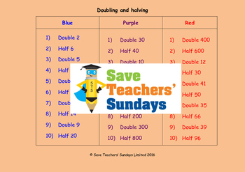 Doubling and halving lesson plans, worksheets and more