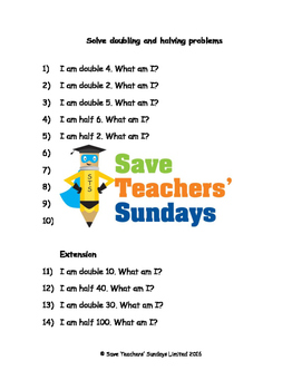 Doubling and halving problem worksheets (4 levels of difficulty)