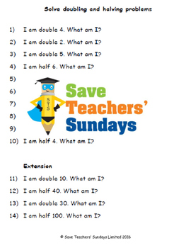 Doubling and halving problems lesson plans and other teach
