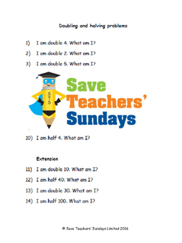 Doubling and halving problems lesson plans, worksheets and more