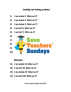 Doubling and halving problems worksheets (4 levels of difficulty)