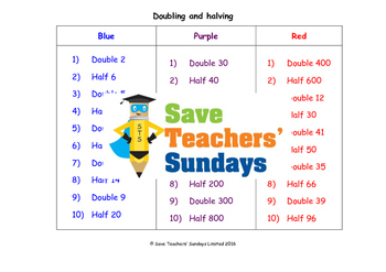 Doubling and halving worksheets (3 levels of difficulty)