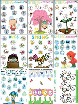 SPRING Low/No Prep Playdough and Dot Marker Activities for Speech Therapy
