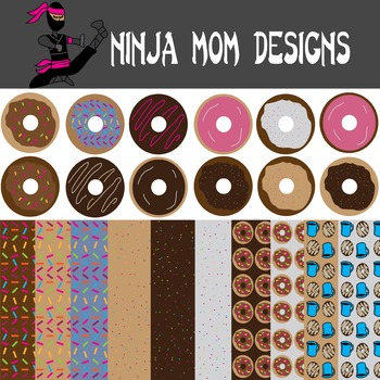 Doughnut Clip Art and Digital Paper in Color and Black Line